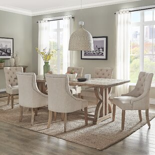 Adrik Salvaged Reclaimed Pine Wood 7 Piece Dining Set (Set of 7) Birch Lane™ Heritage