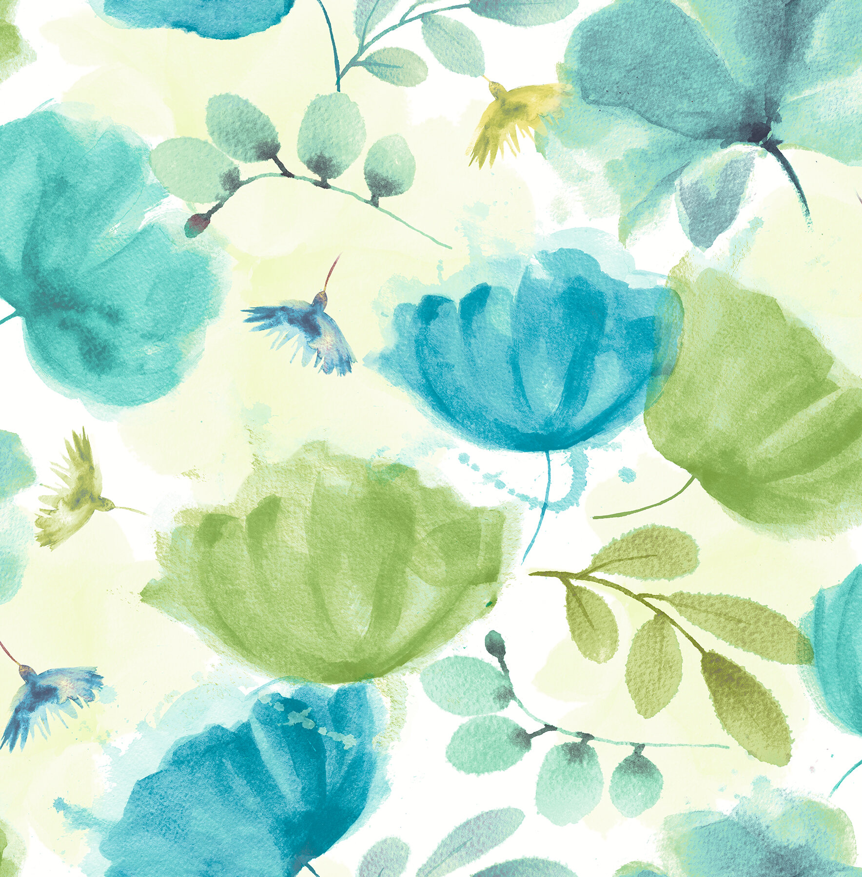 Ebern Designs Zahra Turquoise Floral Wallpaper Wayfair