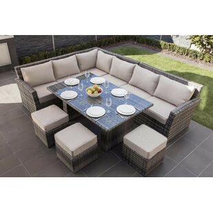 Dengler 8 Piece Rattan Sectional Set with Cushions by Mercury Row