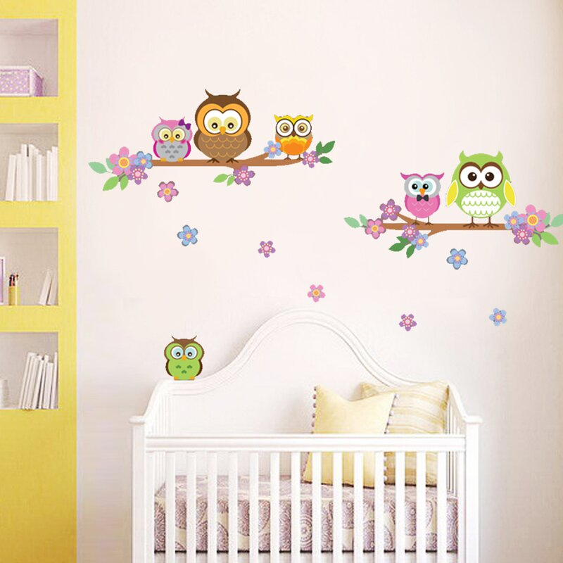 Owl Flower Tree Wall Decal Part 34
