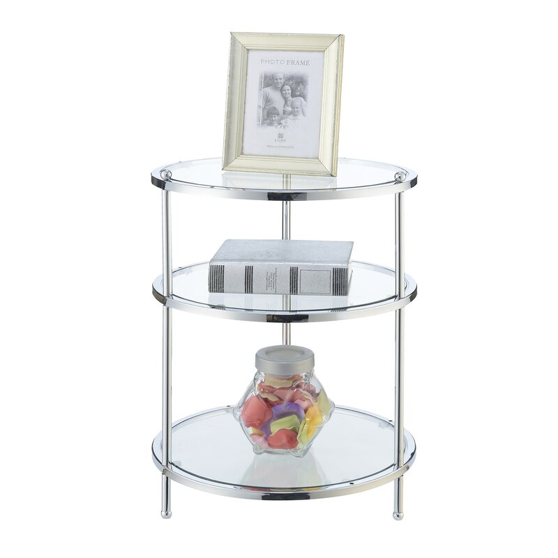 Willa Arlo Interiors Cathleen Glass Top 3 Legs End Table With Storage Reviews Wayfair Ca