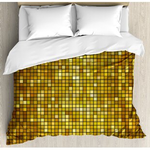 East Urban Home Geometric Ombre Design with Mosaic Like Image with Square Details Artwork Print Duvet Set