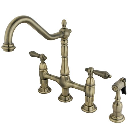 Heritage Bridge Faucet with Side Spray #bridgefaucet #brassfaucet #FrenchCountry