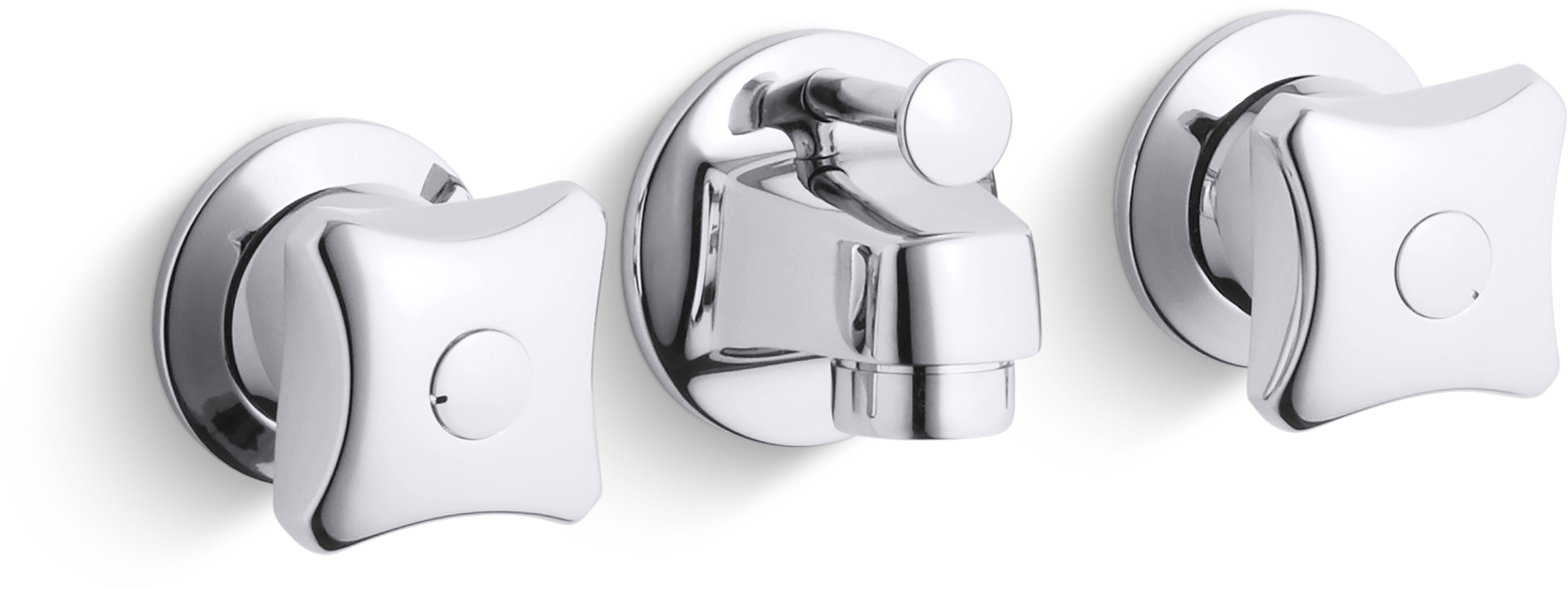 Kohler Triton 0 5 Gpm Shelf Back Commercial Bathroom Sink Faucet With Pop Up Drain And Standard Handles Wayfair