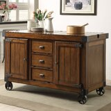 Wick St Lawrence Kitchen Cart with Solid Wood Top by Loon Peak®