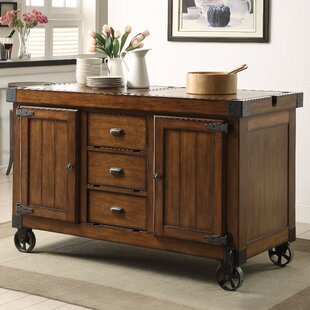 Wick St Lawrence Kitchen Cart with Solid Wood Top by Loon Peak