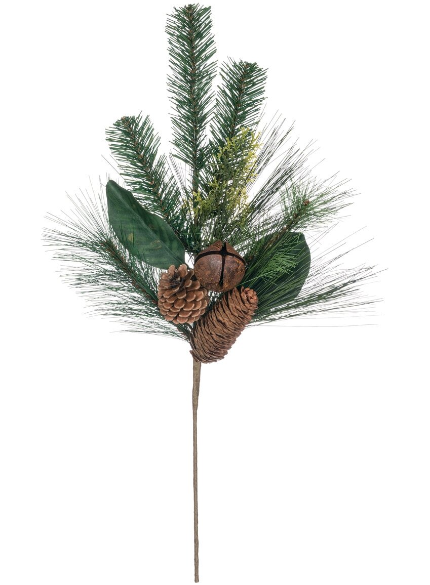 The Holiday Aisle Pine Magnolia With Bells Foliage Plant Pick Wayfair