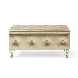Yousef Crystal Tufted Faux Leather Storage Bench