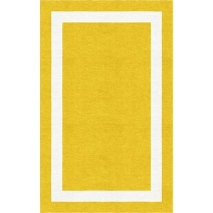 Best Price Begay Border Hand-Tufted Wool Gold/White Area Rug By Red Barrel Studio