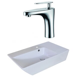 Shop For Ceramic Rectangular Vessel Bathroom Sink with Faucet and Overflow ByAmerican Imaginations