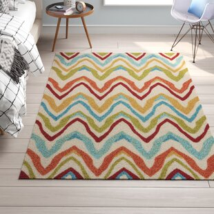 Cherry Hand-Hooked Burnt Orange/Cyan Blue Indoor/Outdoor Area Rug