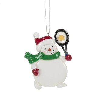 tennis snowman hanging figurine