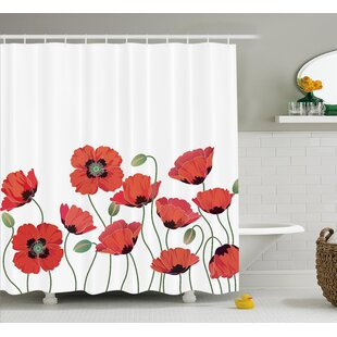 Natural Poppy Garden Shower Curtain by East Urban Home