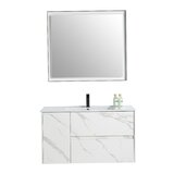 Alexandru 39 Wall-Mounted Single Bathroom Vanity Set with Mirror by Orren Ellis