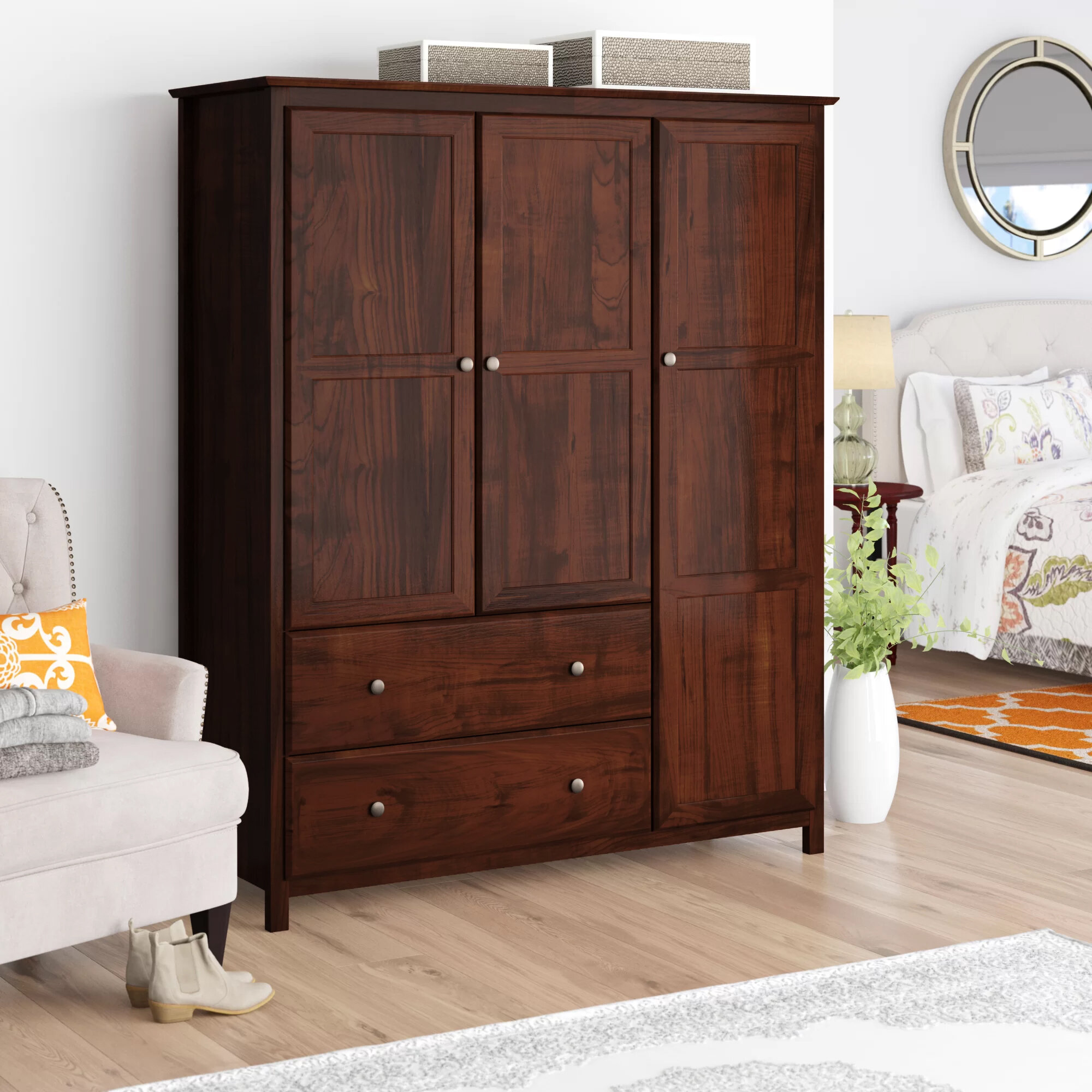 wood wardrobe closet for bedroom shelves hanging rod