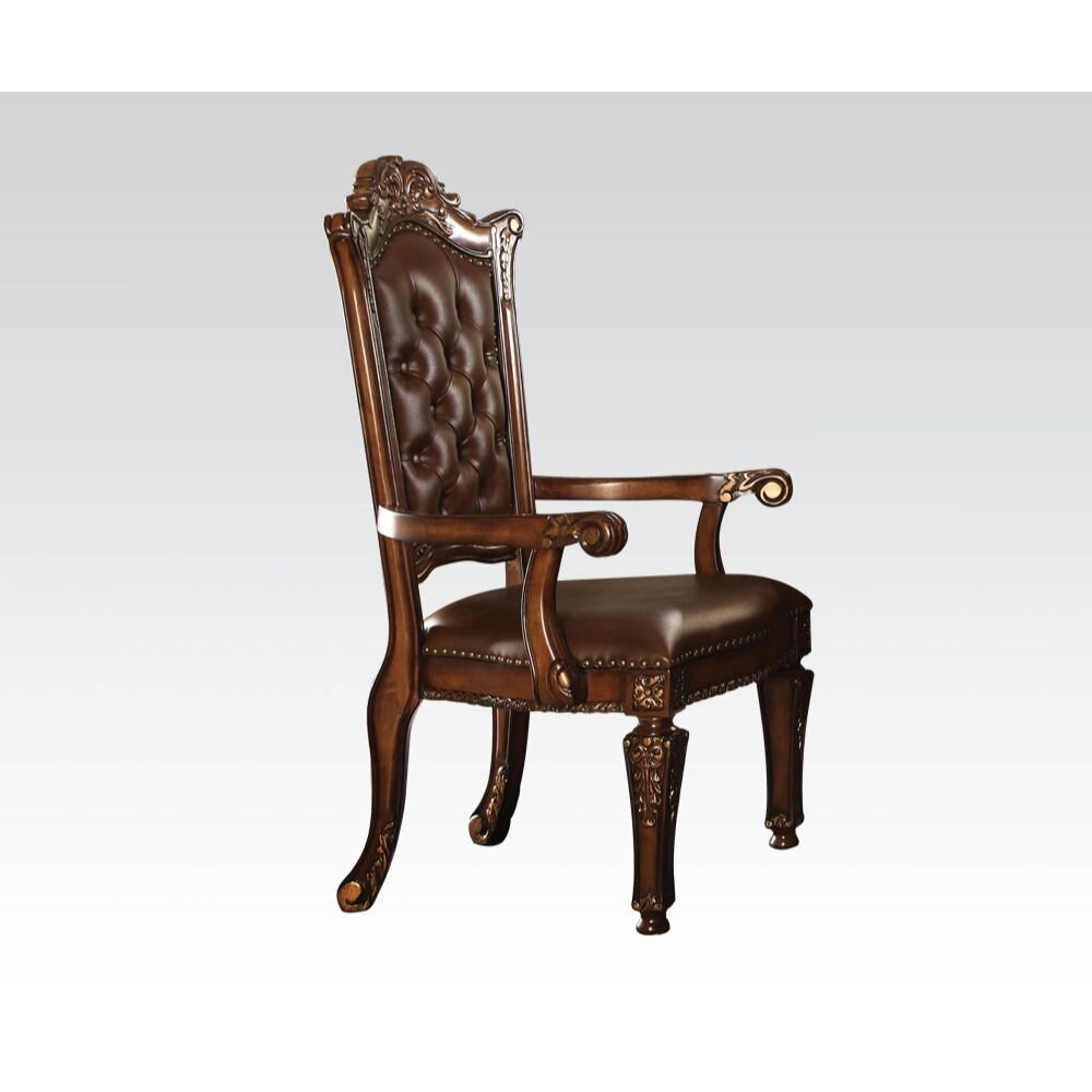 Colourtree Vendome Tufted Queen Anne Back Arm Chair In Cherry Wayfair