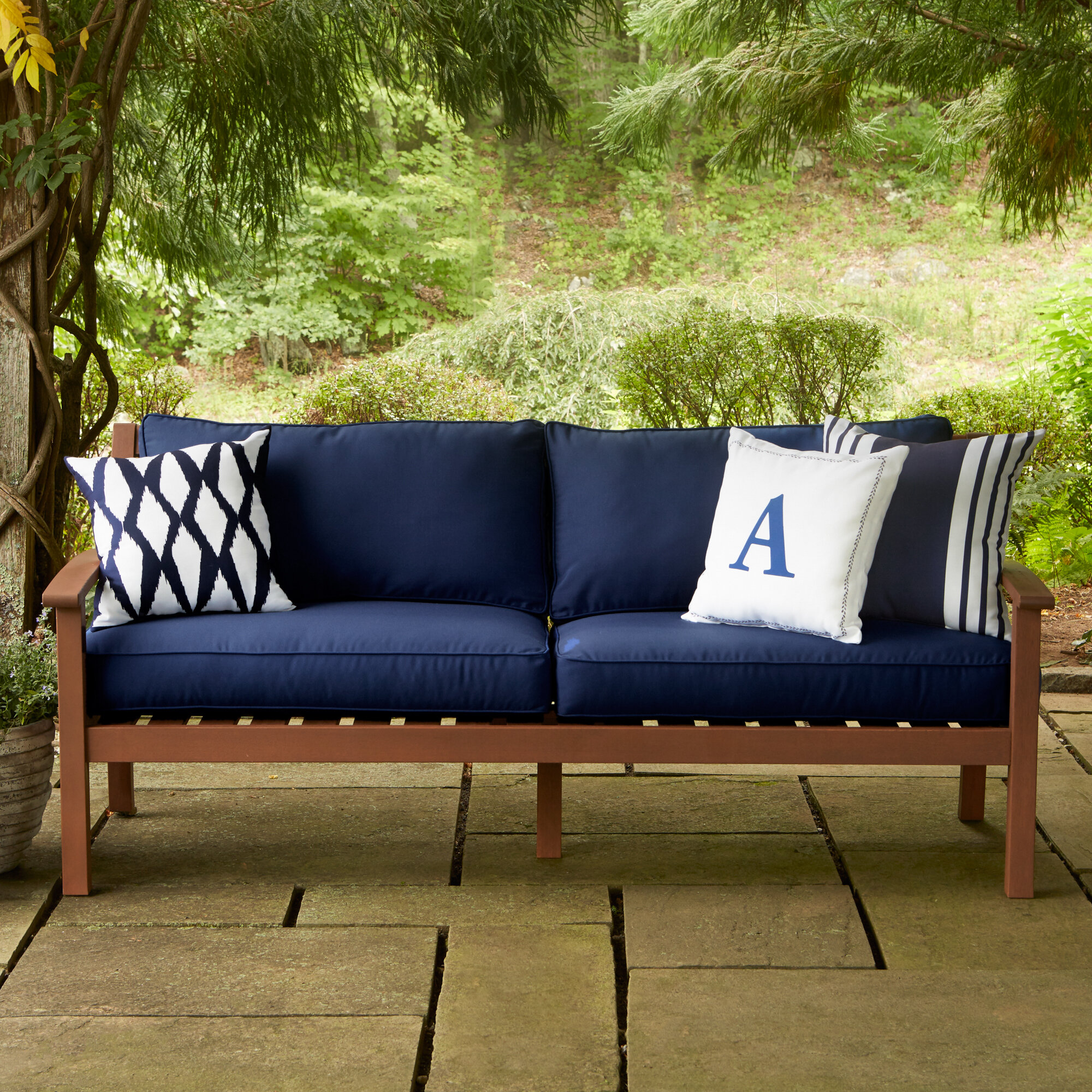 Birch lane heritage rossi patio sofa with cushions reviews birch lane