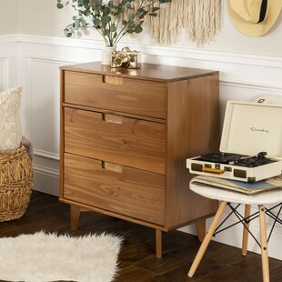 Garrick Groove Handle Wood 3 Drawer Dresser