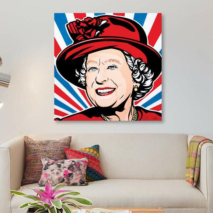 Hrh Queen Elizabeth Ii Graphic Art Print On Canvas