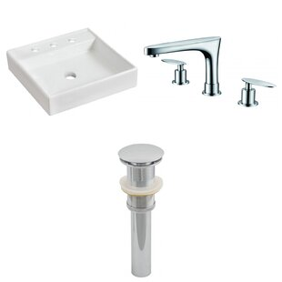 Ceramic Square Bathroom Sink with Faucet ByAmerican Imaginations