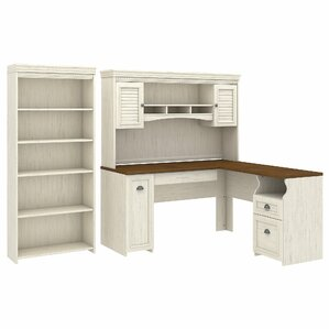 jordan lshaped executive desk with hutch and 5 shelf bookcase