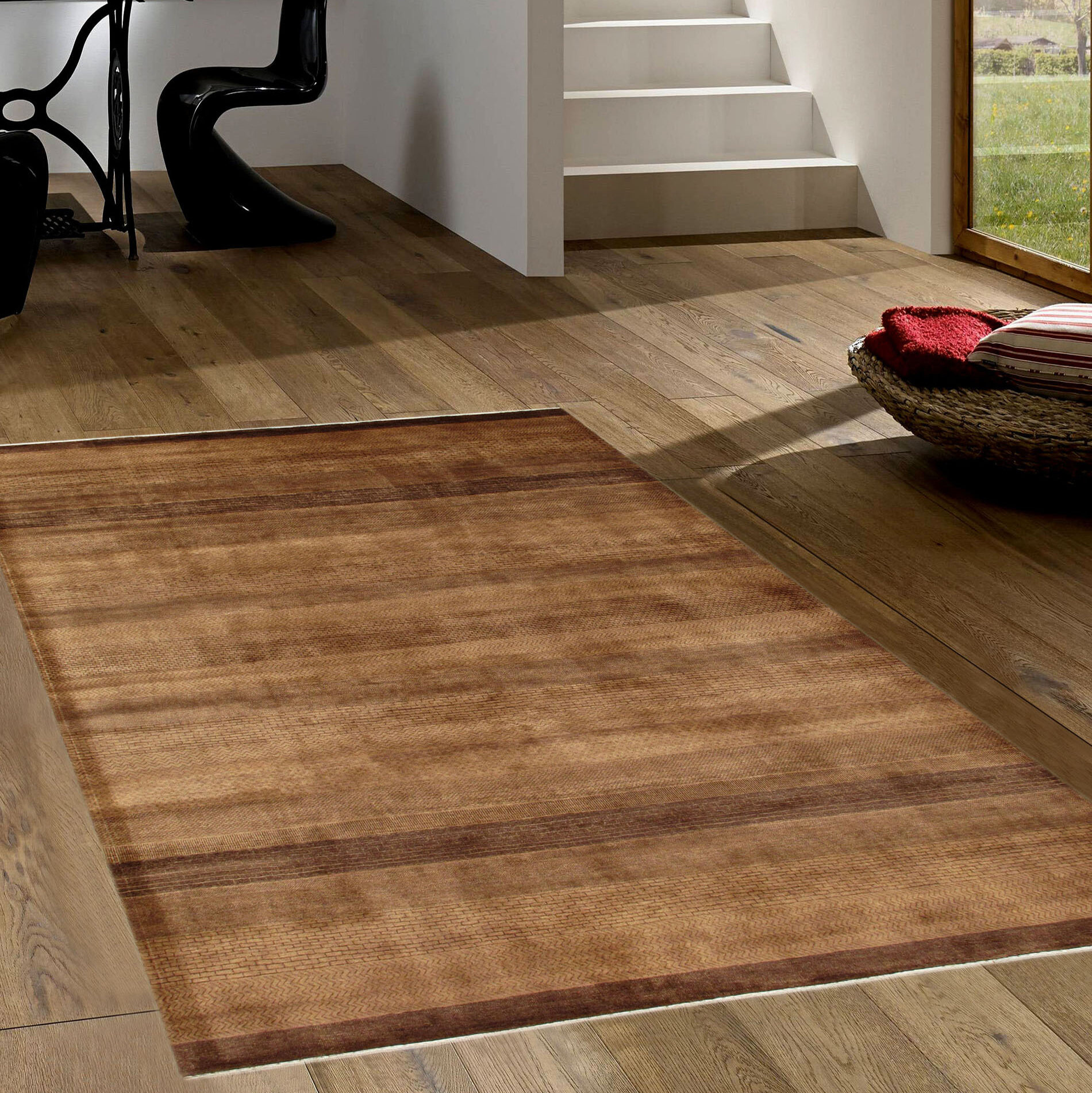 Pasargad Gabbeh Striped Hand Knotted Wool L Brown Area Rug Wayfair