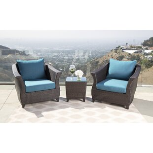 Lemanski Sunbrella Blue Outdoor Wicker Patio Chair
