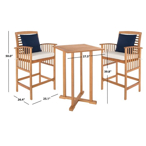 World Menagerie Kirsta 3 Piece Bar Height Dining Set With Cushions Reviews