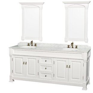 Bargain Andover 80 Double White Bathroom Vanity Set with Mirror ByWyndham Collection