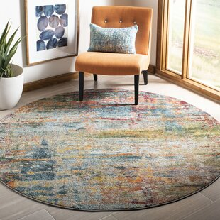 Arianna Teal/Orange Area Rug by Bungalow Rose