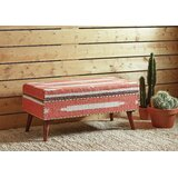 Upholstered Bench Orange And White by Bungalow Rose