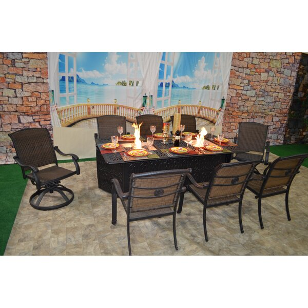 Darby Home Co Adela 9 Piece Dining Set With Firepit | Wayfair