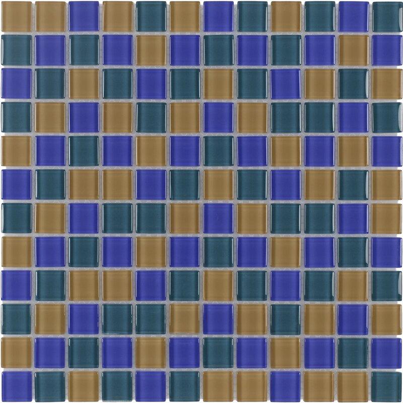 Mosaictileoutlet Stacked Squares 1 X 1 Glass Mosaic Tile In Glossy Blue Orange Wayfair
