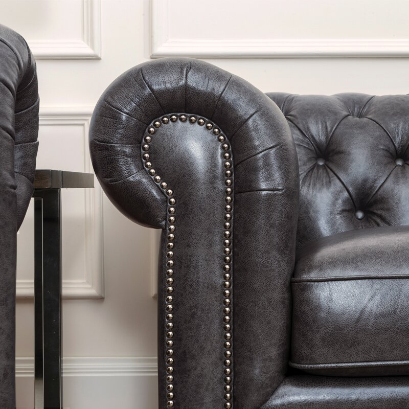 Tanisha Leather Chesterfield Sofa