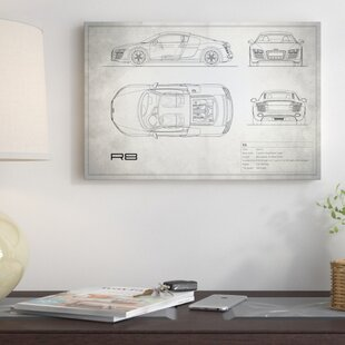 'Audi R8 V10 Coupe' Graphic Art Print on Canvas in Vintage Silver ByEast Urban Home