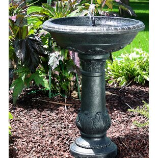 Fleur De Lis Living Maidenhead Fiberglass Solar Bird Bath Water Fountain