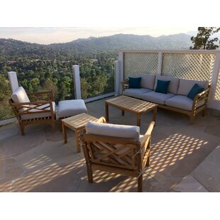 Trijaya Living Malibu 6 Piece Teak Sofa Seating Group with Sunbrella Cushions