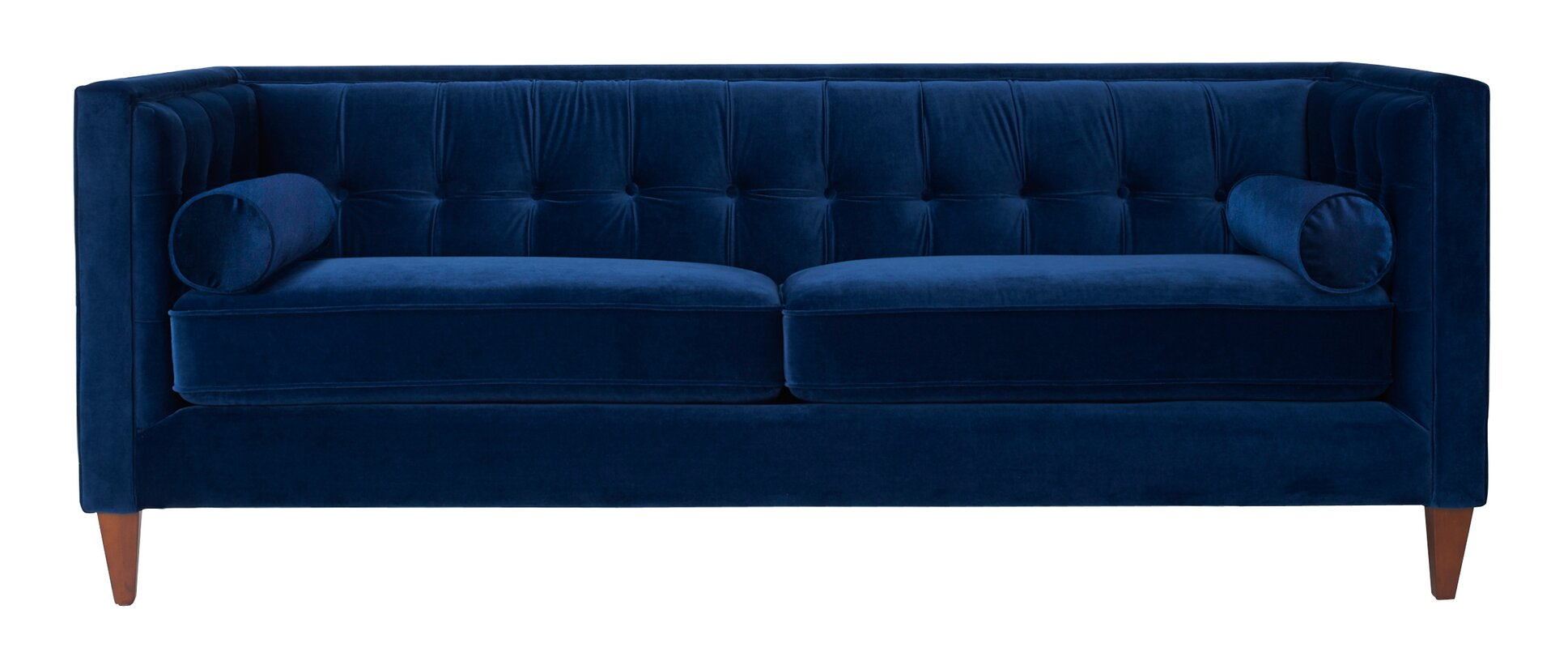 "Velvet 84"" Sofa - Shop Drew's Honeymoon House {Jonathan's Guest Suite} #sexysofa #bluevelvet #PropertyBrothers"