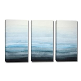 ebf4fe549394  Coastal Mist  3 Piece Framed Painting Print on Canvas in Blue Gray Black