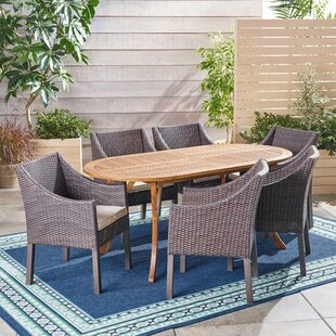 Bungalow Rose Lincolnwood Outdoor 7 Piece Dining Set with Cushions