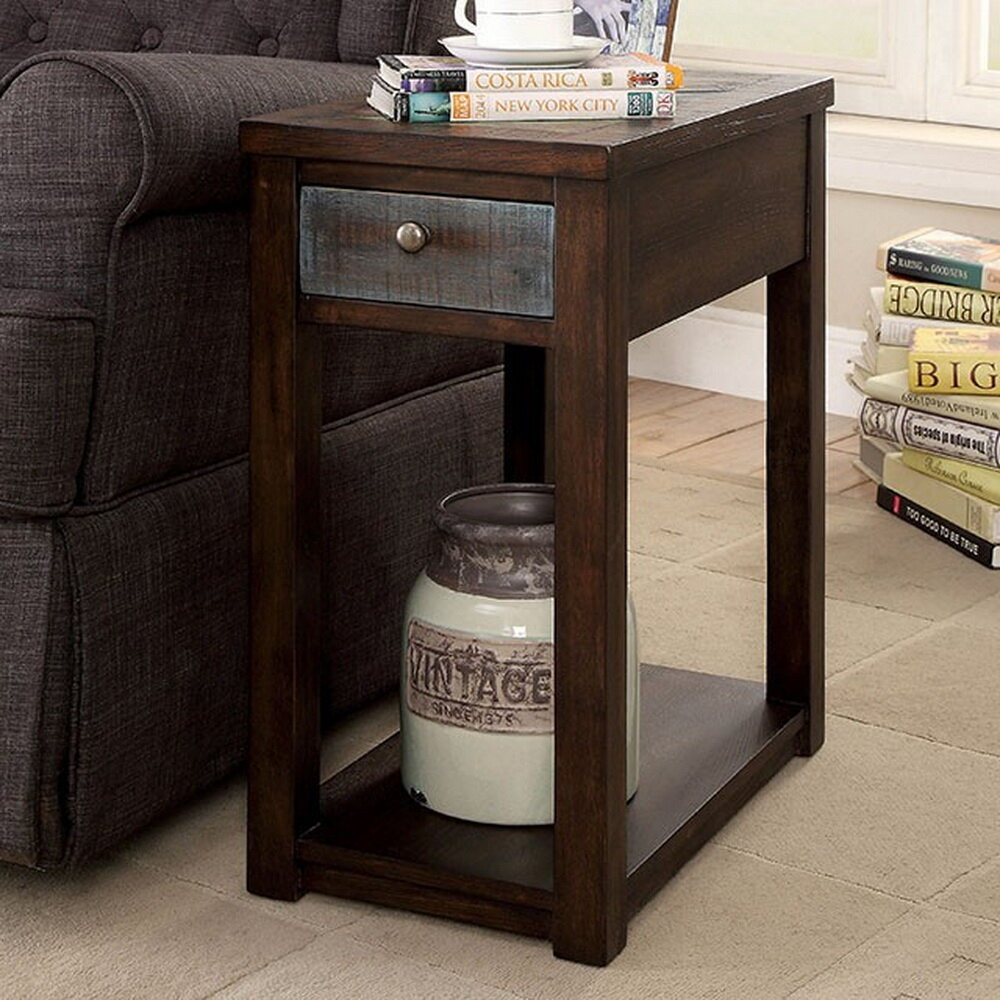 Avelina Rustic End Table With Storage