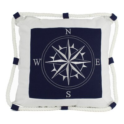 Handcrafted Nautical Decor Compass With Nautical Rope Pillow Cover Colour: Blue