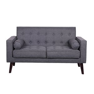 Morre Solid Linen Tufted Loveseat