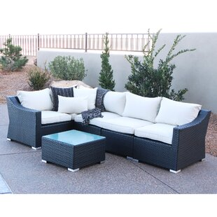 Home Loft Concepts 6 Piece Rattan Sectional Set with Cushions