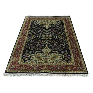 Best Deals One-of-a-Kind Bales Revival New Zealand Hand-Knotted Wool Black Area Rug By Isabelline