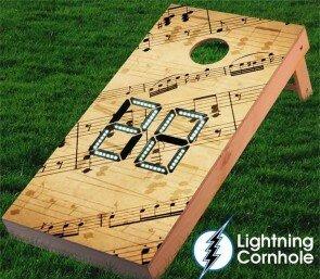Lightning Cornhole Electronic Scoring Music Notes Cornhole Board
