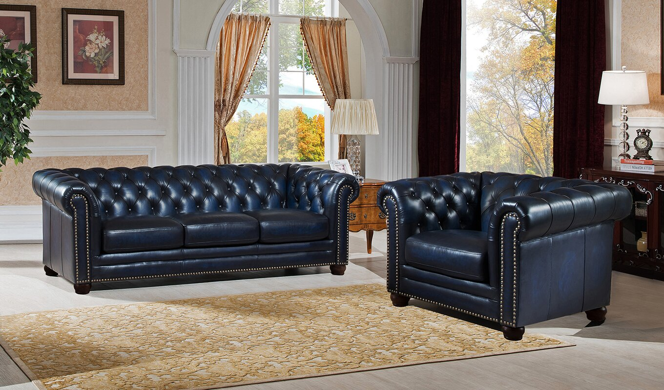 Amax Nebraska 2 Piece Leather Living Room Set