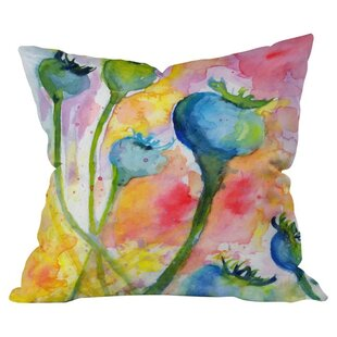 Poppy Pods Outdoor Throw Pillow