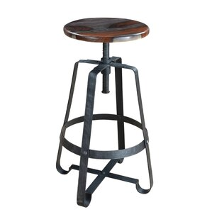 Shalanda Cedar Adjustable Height Swivel Bar Stool by 17 Stories