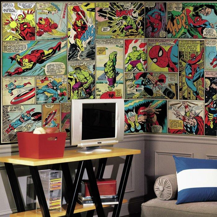 Marvel Comic Panel Chair Rail Prepasted 10 5 X 72 Wall Mural